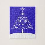 Árbol de navidad hecho de copos de nieve en Backgr Puzzle