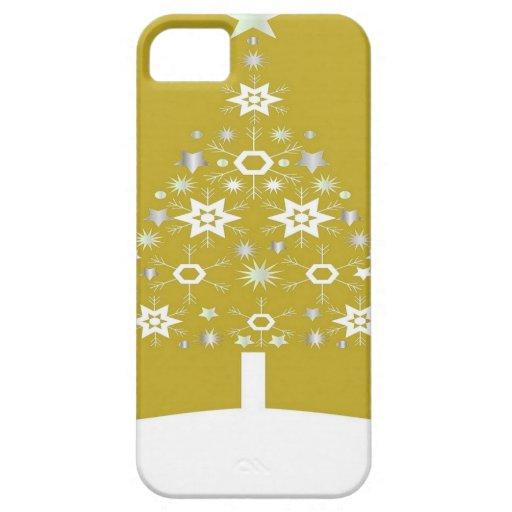 Árbol de navidad hecho de copos de nieve en el oro iPhone 5 fundas