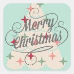 Árbol de navidad hermoso del color en colores calcomania cuadrada personalizada