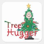 Árbol de navidad Hugger Calcomanía Cuadradas