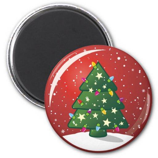 Árbol de navidad imán redondo 5 cm