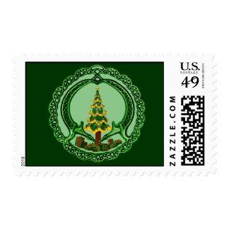 Árbol de navidad irlandés Claddagh Estampilla
