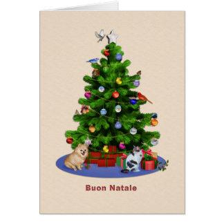 Árbol de navidad italiano, feliz, pájaros, gato, p felicitacion