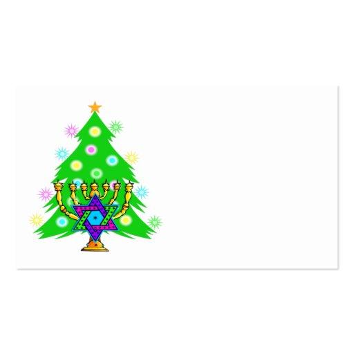 Árbol de navidad Jánuca Menorah Tarjetas De Visita