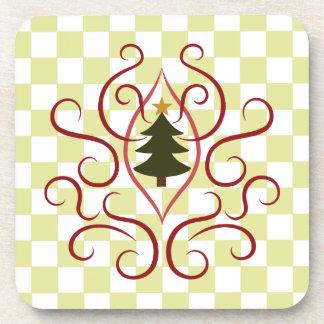 Árbol de navidad lindo con remolinos rojos elegant posavasos de bebida