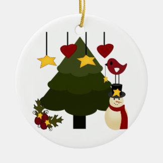 Árbol de navidad lindo que adorna las estrellas adorno navideño redondo de cerámica