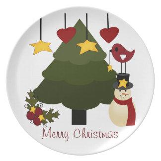 Árbol de navidad lindo que adorna las estrellas de platos de comidas