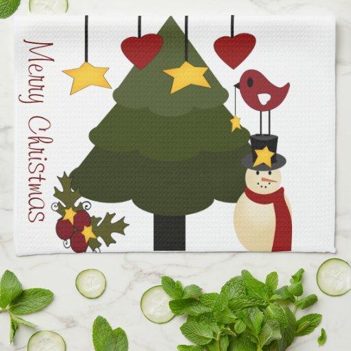 Árbol de navidad lindo que adorna las estrellas de toalla de cocina