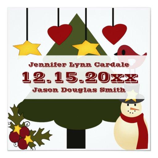 Árbol de navidad lindo que adorna las estrellas invitación 13,3 cm x 13,3cm