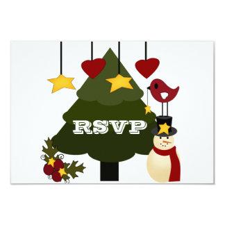 """Árbol de navidad lindo que adorna las estrellas invitación 3.5"""" x 5"""""""