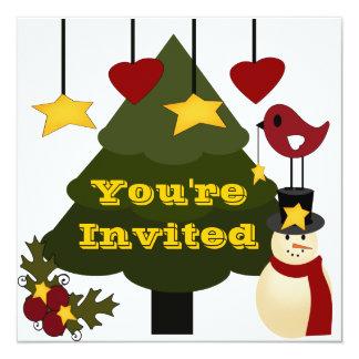 """Árbol de navidad lindo que adorna las estrellas invitación 5.25"""" x 5.25"""""""