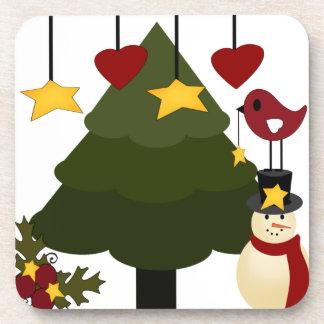 Árbol de navidad lindo que adorna las estrellas posavasos