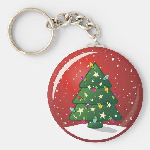 Árbol de navidad llavero redondo tipo pin