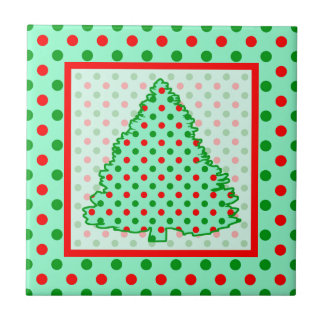 Árbol de navidad Lunares rojos y verdes Azulejos Ceramicos