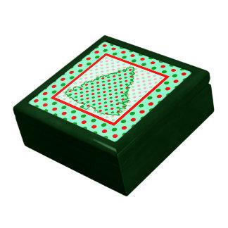 Árbol de navidad Lunares rojos y verdes Caja De Joyas