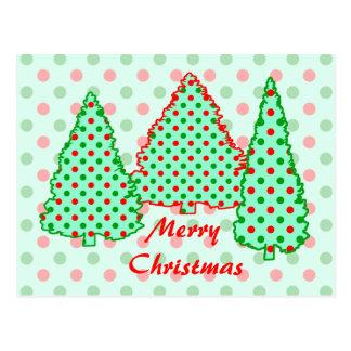 Árbol de navidad Lunares rojos y verdes Postal