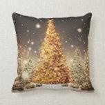 Árbol de navidad magnífico del oro cojin