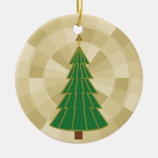 Árbol de navidad minimalista en el oro adorno navideño redondo de cerámica