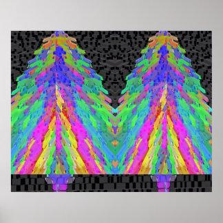 Árbol de navidad - modelos del diamante póster