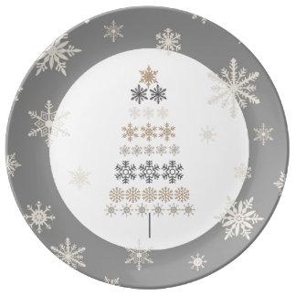 árbol de navidad moderno del copo de nieve del plato de cerámica