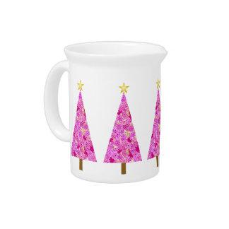 Árbol de navidad moderno floral magenta jarrones
