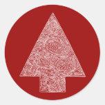 Árbol de navidad moderno pegatinas redondas
