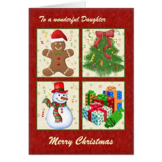 Árbol de navidad, muñeco de nieve, presentes, tarjeta de felicitación