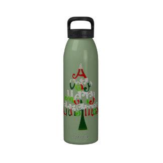 Árbol de navidad muy feliz botellas de agua reutilizables