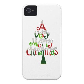 Árbol de navidad muy feliz iPhone 4 carcasas