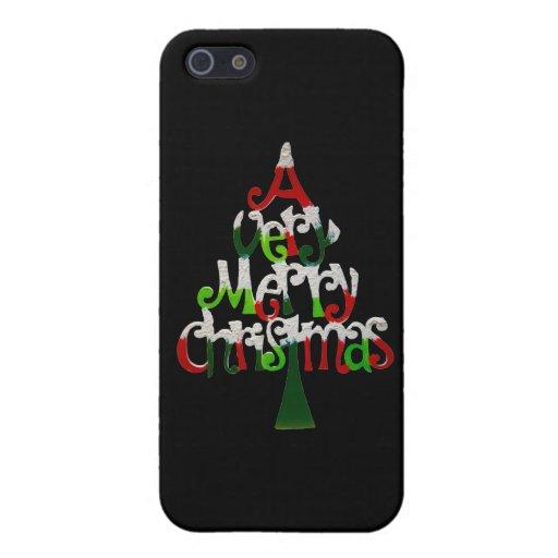 Árbol de navidad muy feliz iPhone 5 carcasa