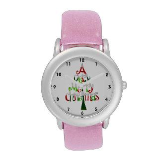 Árbol de navidad muy feliz relojes