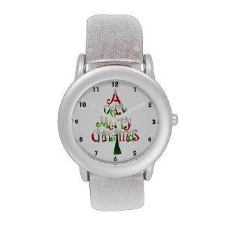 Árbol de navidad muy feliz reloj