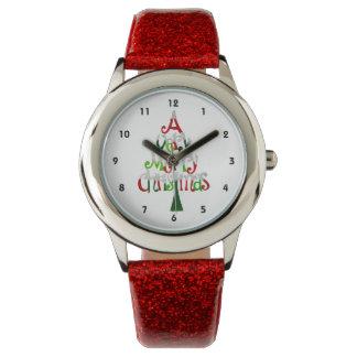 Árbol de navidad muy feliz relojes de mano
