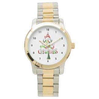 Árbol de navidad muy feliz relojes de pulsera