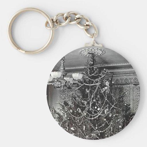 Árbol de navidad nostálgico llavero redondo tipo pin