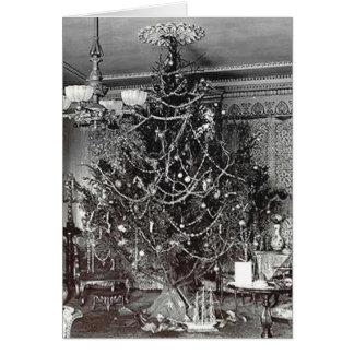 Árbol de navidad nostálgico tarjeta de felicitación
