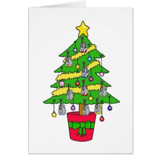Árbol de navidad para los corredores, adornado con tarjeta de felicitación