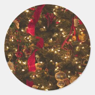 Árbol de navidad etiqueta redonda