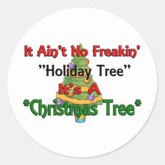 Árbol de navidad etiquetas redondas
