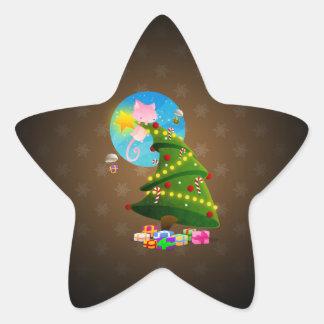 Árbol de navidad pegatina en forma de estrella