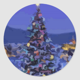 Árbol de navidad pegatina redonda