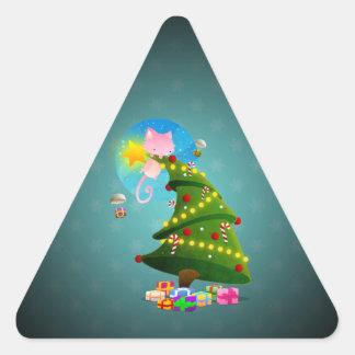 Árbol de navidad pegatina triangular