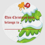 Árbol de navidad pegatinas redondas
