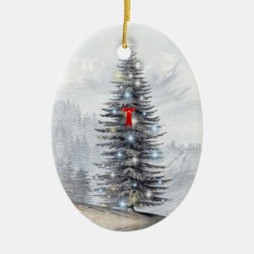 Árbol de navidad personalizado del vintage adorno navideño ovalado de cerámica