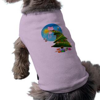 Árbol de navidad playera sin mangas para perro