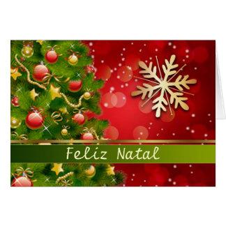 Árbol de navidad portugués, chucherías, copos de tarjeta de felicitación