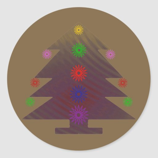 Árbol de navidad - púrpura adornada pegatina redonda
