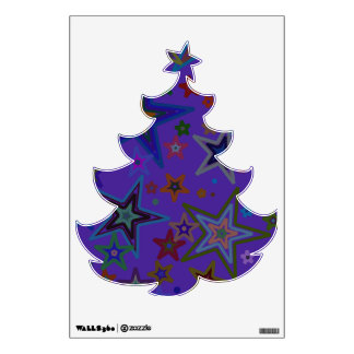 Árbol de navidad púrpura de la etiqueta de la vinilo adhesivo