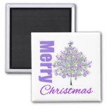 Árbol de navidad púrpura del tema de las Felices N Imanes De Nevera