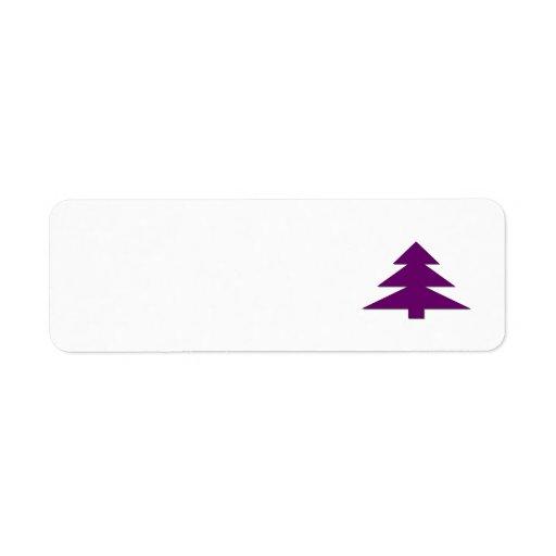 Árbol de navidad púrpura etiqueta de remitente
